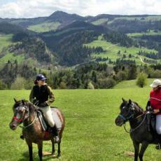 Podziwiamy Pieniny na koniach.